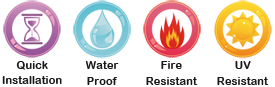 fire, water, uv resistant