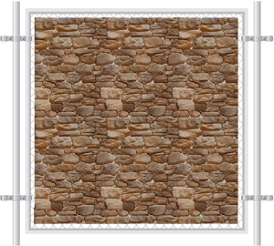 Stone Wall Printed Mesh Fence Screen-4032