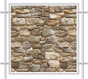 Stone Wall Printed Mesh Fence Screen-4037