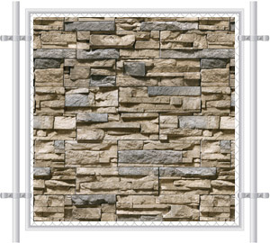 Stone Wall Printed Mesh Fence Screen-4044